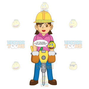 Female Construction Worker Using A Jackhammer