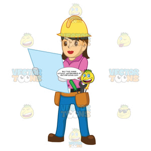 Female Construction Worker Holding Up Blue Prints