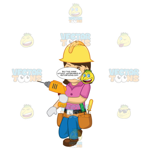 Female Construction Worker Kneeling Down Using A Drill