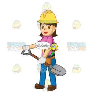 Female Construction Worker Holding A Shovel