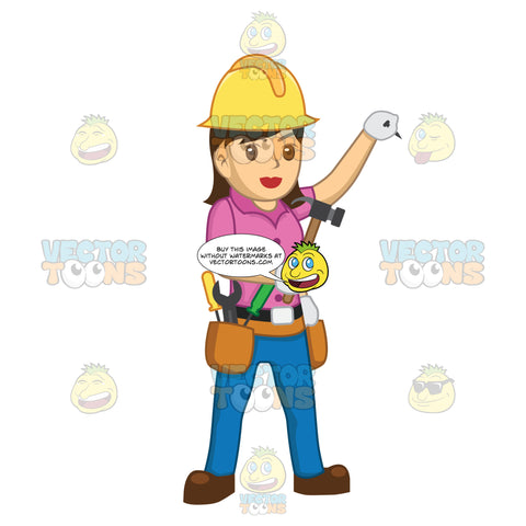 Female Construction Worker Holding A Nail Up In One Hand And A Hammer In The Other