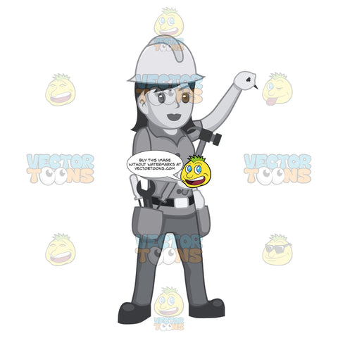 Female Construction Worker Holding A Hammer And Nail