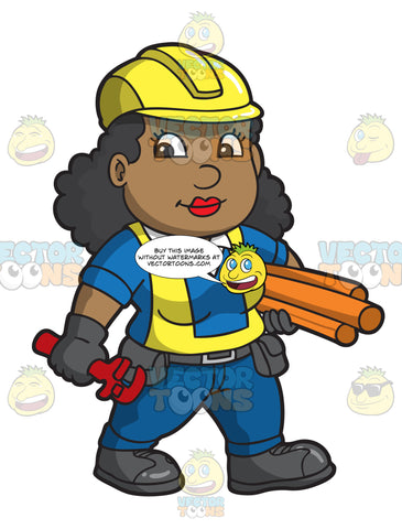 A Female Construction Worker Carrying Pipes And A Wrench