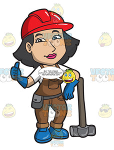 A Female Construction Worker With A Sledgehammer