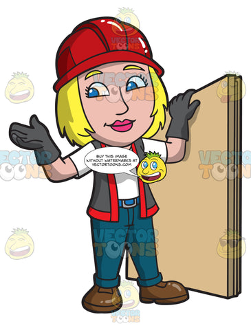 A Female Construction Worker Holding A Piece Of Plywood