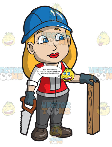 A Female Construction Worker About To Saw Wood