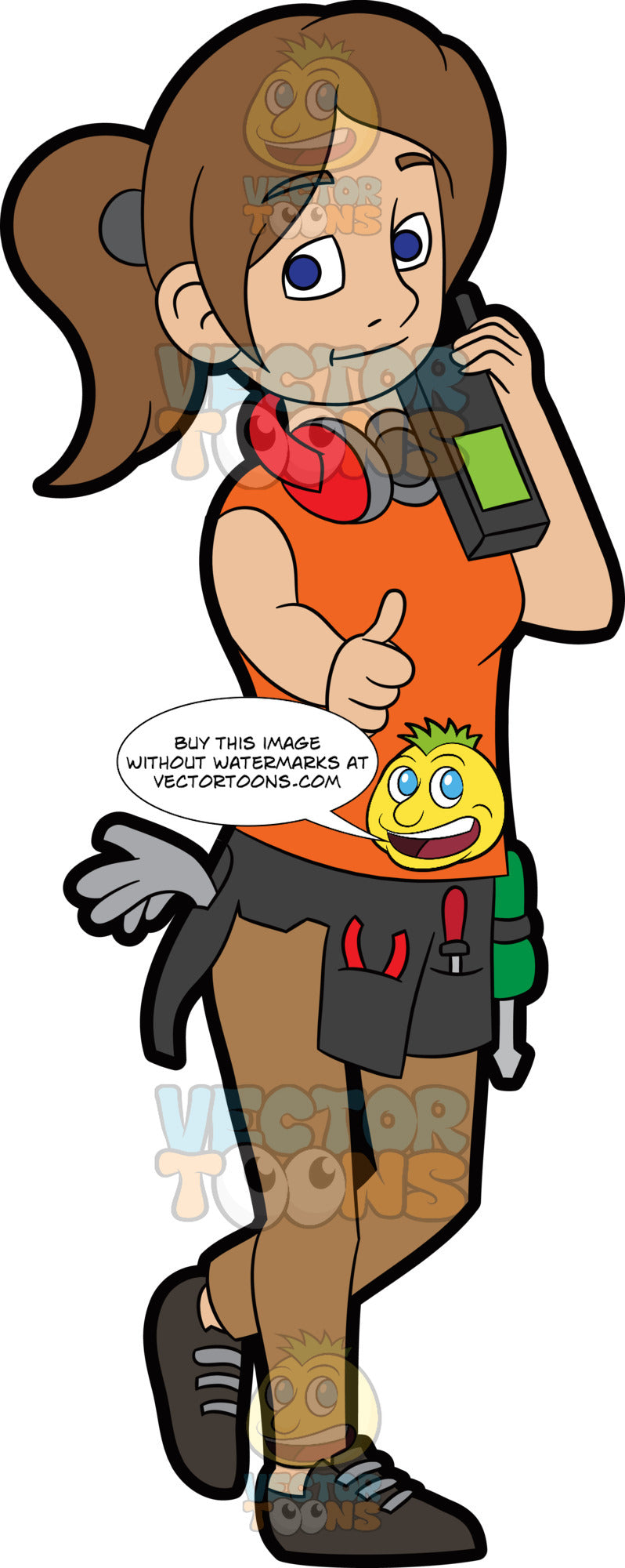 A Female Construction Worker Gesturing A Thumbs Up Sign