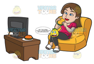 A Woman Eating Hamburger While Watching Tv