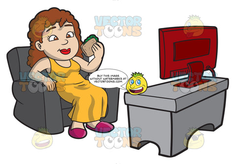 A Woman Eats A Sandwich While Watching Tv