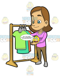 A Woman Checking The Shirt Rack On Sale