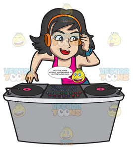 A Female Dj Enjoying Her Night Gig