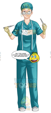 Female Doctor Wearing Surgical Scrubs And Holding Surgical Tools