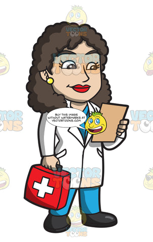 A Female Doctor Carrying A First Aid Kit