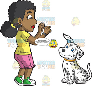 A Female Dog Trainer Teaching A Dalmatian To Sit And Stay