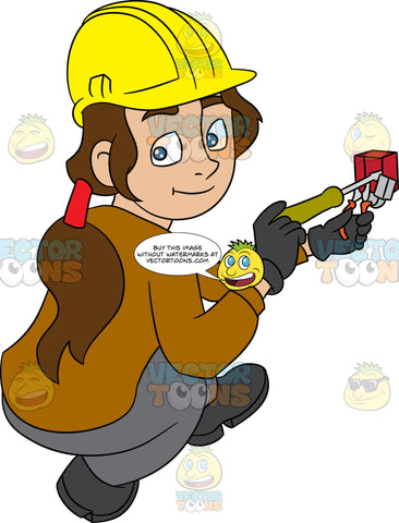 A Female Electrician Fixing A Telephone Jack