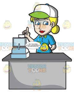 A Female Fast Food Cashier Employee