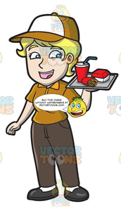 A Female Fast Food Employee Serving Orders