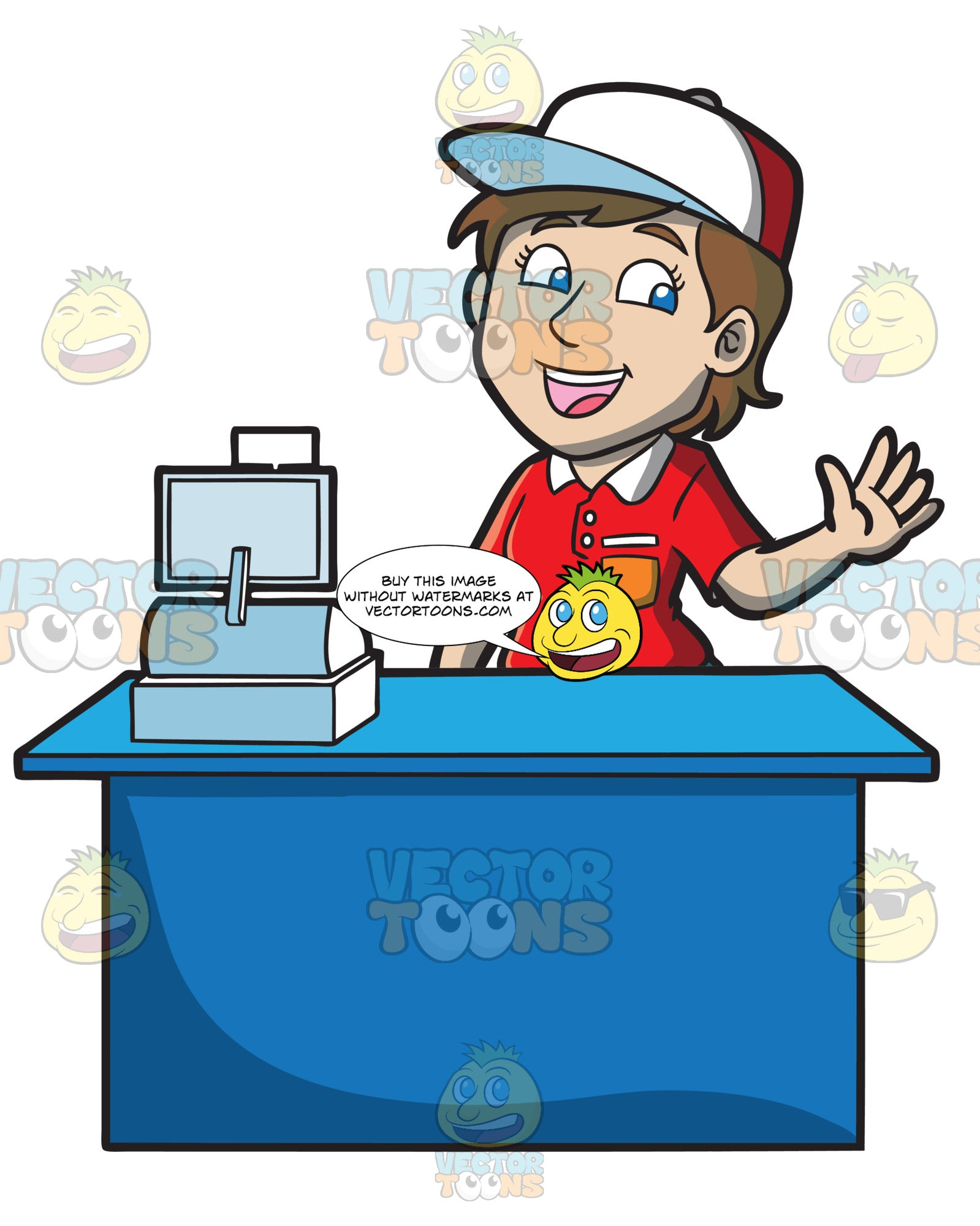 A Jolly Female Fast Food Cashier Worker