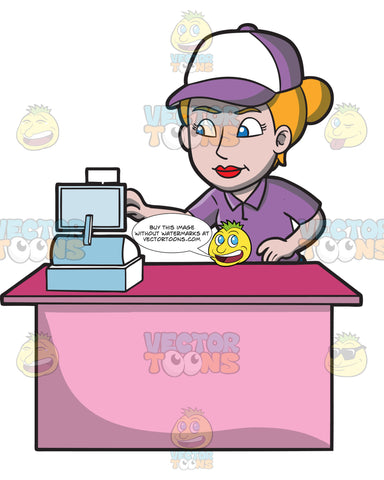 A Female Fast Food Worker Punching In Orders