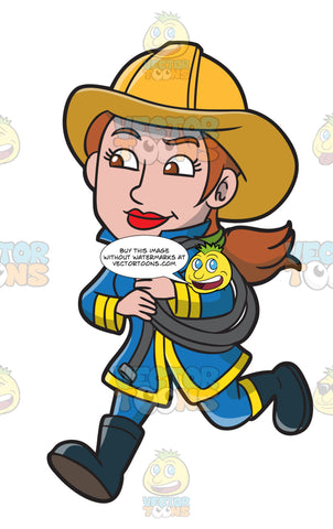 A Female Firefighter Running With A Fire Hose
