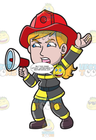 A Female Firefighter Yelling An Emergency Announcement