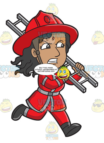 A Female Firefighter Running With A Ladder