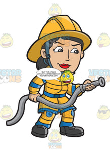 A Female Firefighter Holding A Hose
