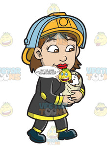 A Female Firefighter Carrying A Rescued Animal