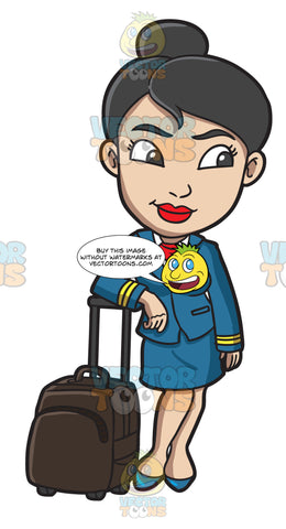 A Female Flight Attendant After Her Duty