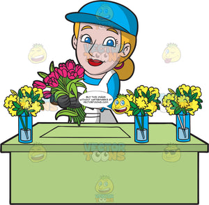 A Happy Female Florist Arranging Flowers