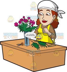 A Female Florist At Work