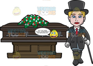 A Sleek Female Funeral Director. A woman with short blonde hair, wearing a black top hat, long dress jacket, boots, white gloves, dress shirt, red necktie, dark gray skirt, black stockings, holds a black and gray cane, as she is walking away confidently from the dark brown coffin with space gray trims, and a casket spray of red and white flowers on top