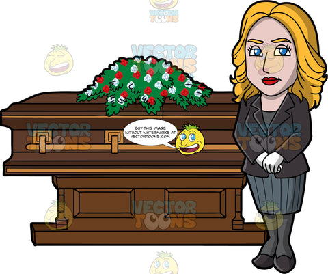 A Female Funeral Director Beside A Coffin. A woman with blonde hair, wearing a black dress jacket, dark gray blouse, black stockings, heels, gray pencil skirt, white gloves, stands in front of a rich brown coffin with gold trims and a casket spray of red and white flowers on top
