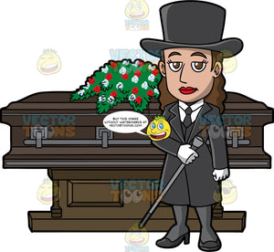 A Female Funeral Director With A Cane. A woman with brown hair, wearing a black top hat, long dress coat, vest, stockings, necktie, heels, white dress shirt, gloves, holds a two tone gray cane as she stands in front of a dark brown coffin with dark gray steel trims and a casket spray of red and white flowers on top