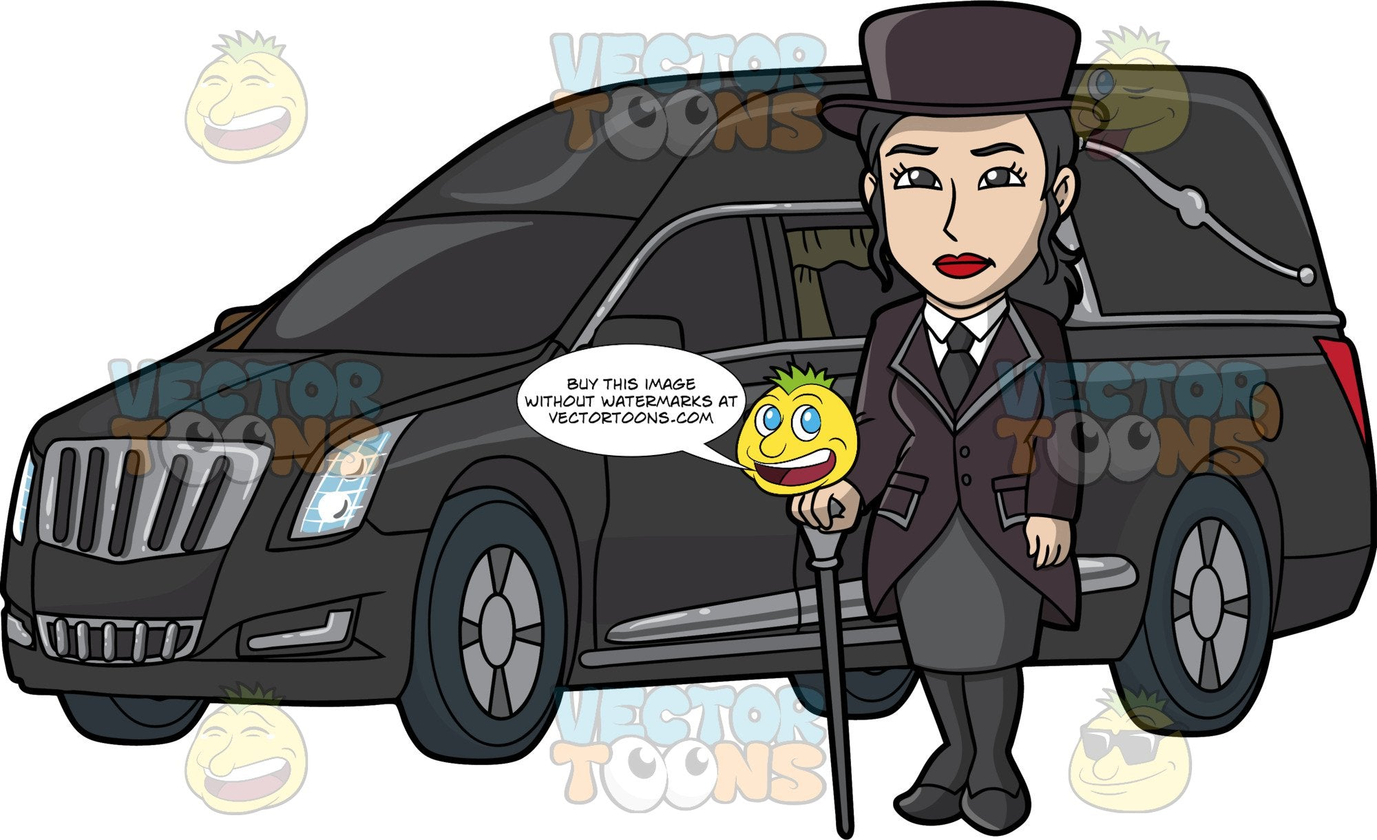 A Silent Female Funeral Director. A woman with black hair, wearing a black top hat, dress jacket with tail, heels, stockings, necktie, white dress shirt, gray skirt, stands beside a black hearse while holding a two tone gray cane in her right hand