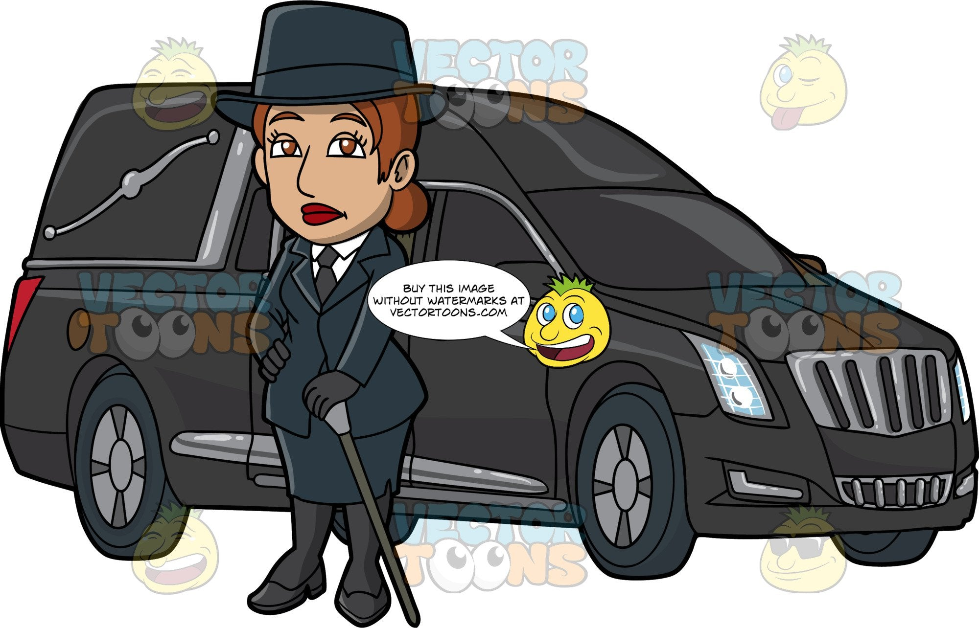 A Demure Female Funeral Director. A woman with reddish brown hair, wearing a midnight blue top hat, dress jacket, skirt, black necktie, gloves, stockings, heels, white dress shirt, frowns while holding a two tone gray cane in her left hand, as she stands beside a black hearse