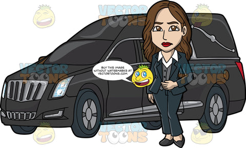 A Pretty Female Funeral Director. A woman with brown hair, wearing a midnight blue dress jacket, pants, gray vest, white collared shirt, black heels, frowns while standing beside a black hearse