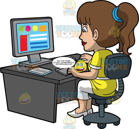A Calm Female Graphic Designer. A woman with ponytailed brown hair, wearing a yellow with white blouse, cropped white pants, heels, smiles while sitting on a dark gray chair behind a desk, as she designs some colorful graphics using a gray desktop computer, keyboard, notebook, and drawing pad