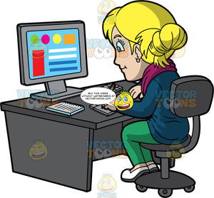 A Focused Female Graphic Designer. A woman with blonde hair tied up in a bun, wearing a fuchsia scarf, dark teal cardigan, green pants, white shoes, smiles while sitting on a dark gray chair behind a desk, as she designs some colorful graphics using a gray desktop computer, keyboard, notebook and drawing pad