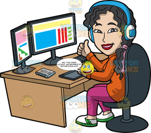 A Confident Female Graphic Designer. A woman with curly black hair and purple highlights, wearing an orange turtle neck sweatshirt, pink pants, blue with white headphones, white with green sneakers, smiles while sitting on a dark gray chair behind an oak desk, as she designs some colorful graphics using a gray desktop computer with two monitors, keyboard, notebook and drawing pad, right hand lifted to gesture a thumbs up sign