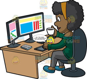 Black Female Graphic Designer Drinking Coffee At Work. A black woman with short curly hair, wearing an off shoulder green blouse, gray pants, blue shoes, sips coffee in a white cup in her right hand, while sitting on a dark gray chair behind an oak desk, as she designs some colorful graphics using a gray desktop computer with two monitors, keyboard, notebook and drawing pad
