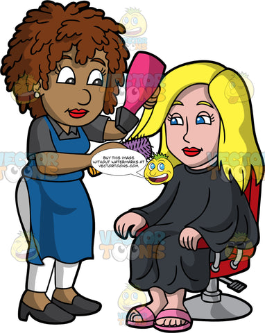 A Black Female Hairdresser Blow Drying Her Clients Hair. A black female hairdresser with curly brown hair, wearing a dark gray polo shirt, white pants, blue apron, black heels, styling the blonde hair of a woman sitting on a red salon chair, wearing pink slippers and a black salon cape gown, using a pink with black nozzle hair dryer, and a purple with wooden handle round brush