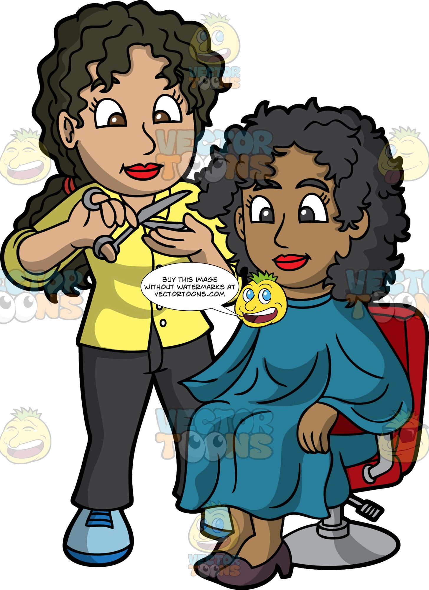A Female Hairdresser Cutting The Hair Of A Black Woman. A female hairdresser with curly black hair tied in a ponytail, wearing a yellow long sleeves blouse with buttons, black pants, blue shoes, cutting the hair of a black woman sitting on a red salon chair, wearing a teal salon cape gown, dark brown heels, using a pair of stainless scissors