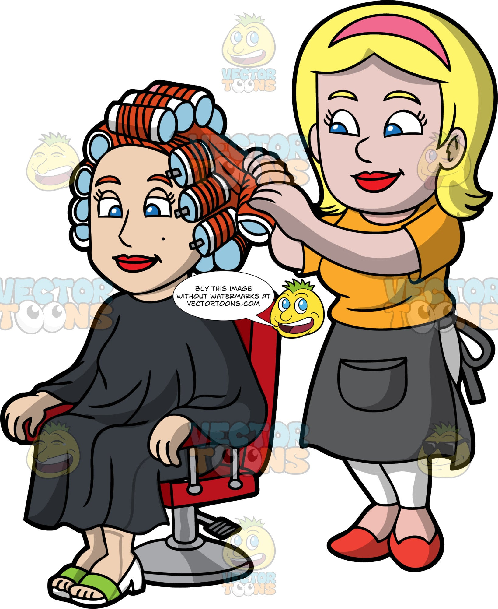 A Female Hairdresser Curling The Hair Of A Client. A female hairdresser with blonde hair, wearing a pink headband, orange shirt, white pants, dark gray half apron with pocket, red shoes, smiles while curling the red hair of a woman sitting on a red salon chair, wearing a black salon cape gown, white sandals with green strap, using a batch of rollers