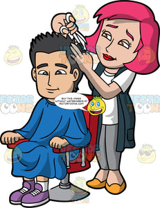 A Stylish Female Hairdresser Cutting A Mans Hair. A female hairdresser with pink hair, wearing a white shirt, gray pants, midnight teal long vest, mustard yellow shoes, styles the black hair of a man sitting on a red salon chair, wearing a blue salon cape gown, white socks, purple sneakers, using a pair of white scissors