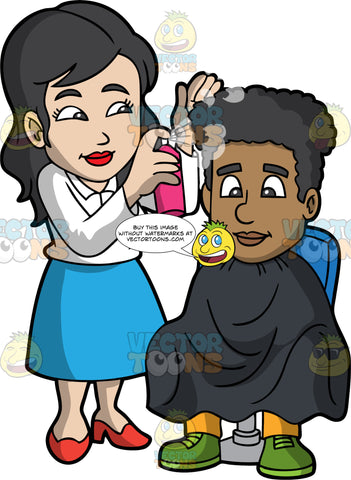 A Female Hairdresser Spraying Hair Products On A Client. A female hairdresser with black hair, wearing a white dress shirt, sky blue skirt, red heels, smiles while spraying a hair product on the curly hair of a black man sitting on a blue chair, wearing a black salon cape gown, yellow pants, and green shoes