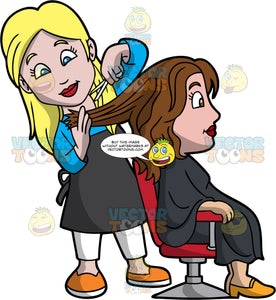 A Female Hairdresser Cutting The Hair Of A Woman . A female hairdresser with blonde hair, wearing a sky blue dress shirt, white pants, orange with white shoes, black apron, cuts the brown hair of a woman sitting on a red and gray salon chair, wearing a black salon cape gown and yellow orange heels, using a pair of white scissors