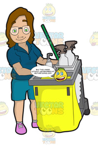 A Female Janitor Pushing Her Cleaning Cart