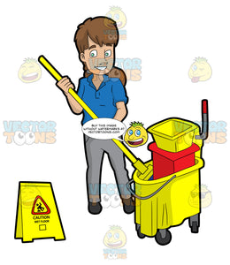 A Female Janitor Wringing Out A Mop