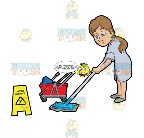 A Woman Mopping A Wet Floor